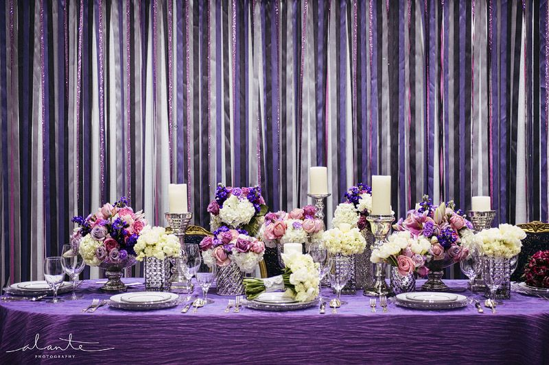 Purple Ideas For Weddings: Purple And Silver Wedding Decor With Mercury Glass And A