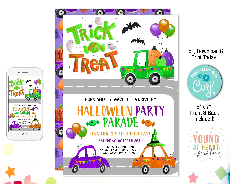 Halloween Drive By Birthday Invitation, Honk Wave Drive