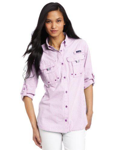 6119103509b Columbia Women's Super Bahama Long Sleeve Shirt, Large, Intense Violet/Seersucker  Columbia http