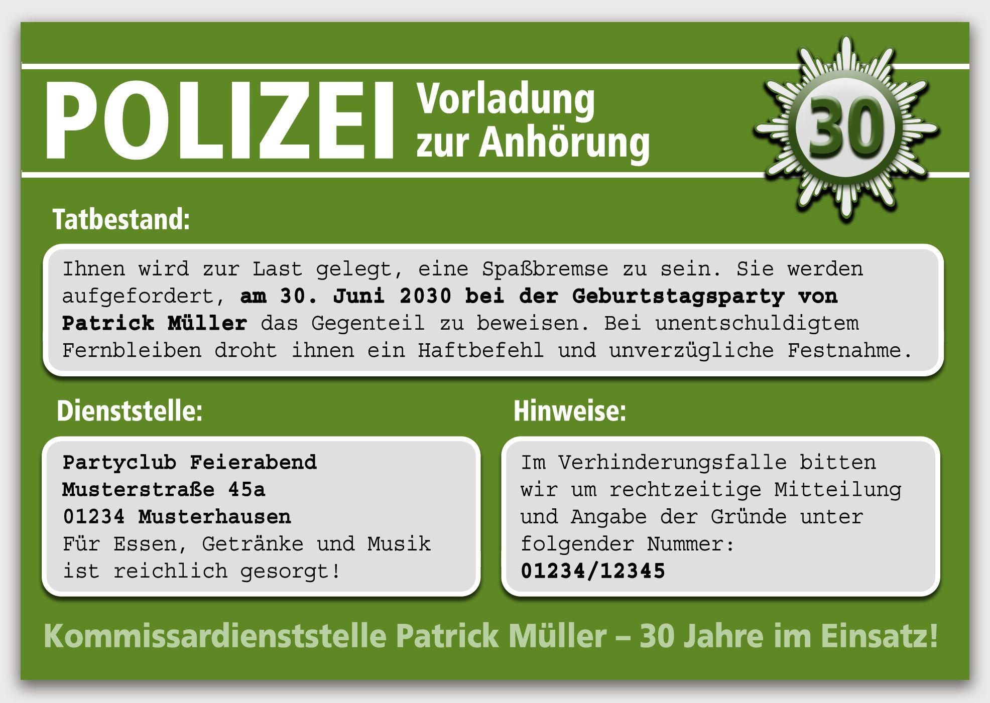 Details Zu Vorladung Zur Polizei Einladungskarten Einladung