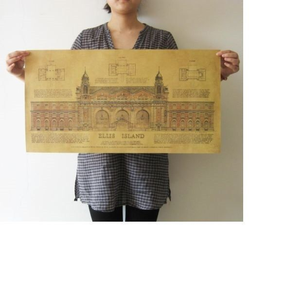 Architecture Drawing Posters vintage posters ellis island museum architecture drawings wall