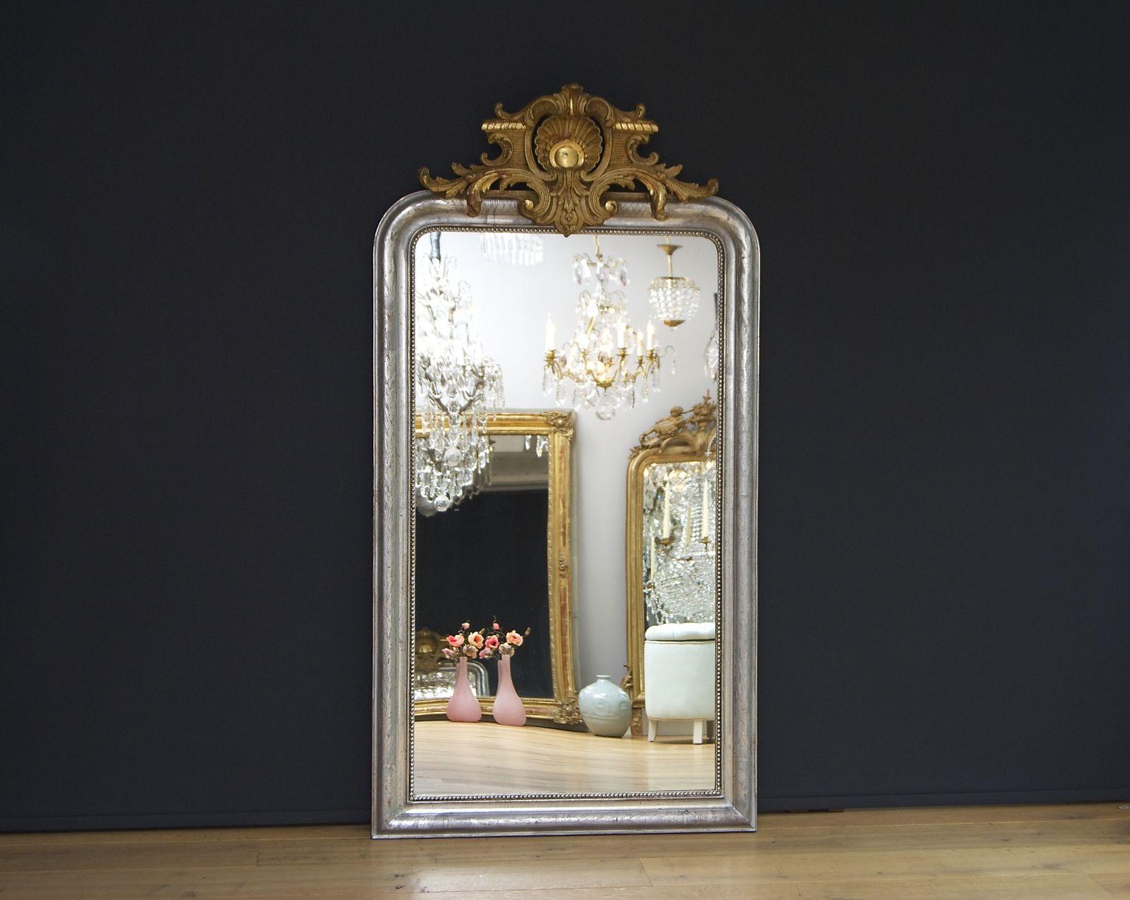 Grote antieke Franse spiegel met kuif, bladzilver (H:158xB:85cm ...