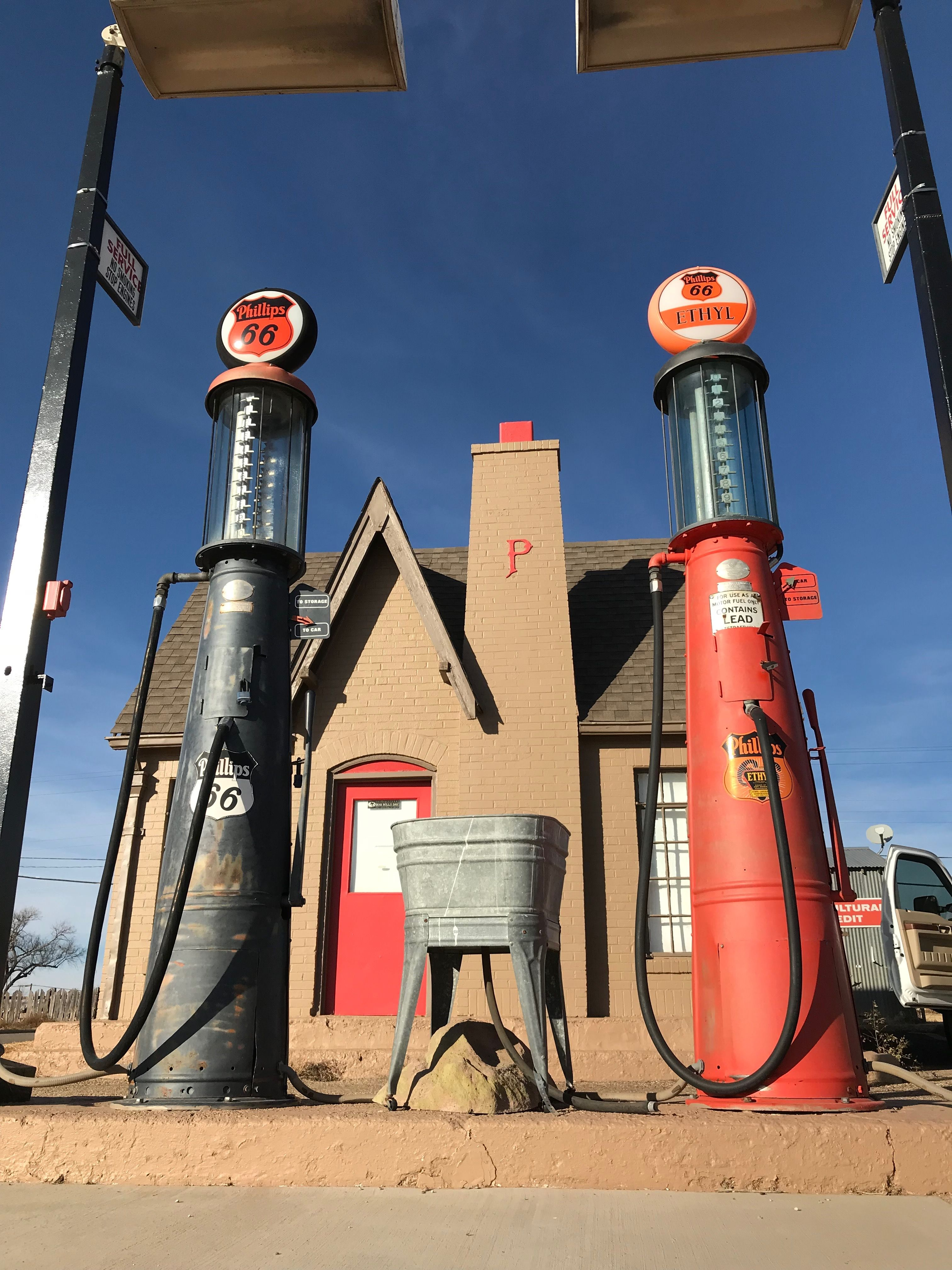 G&B visible gas pumps at Goldsby's restored 1928 Phillips 66