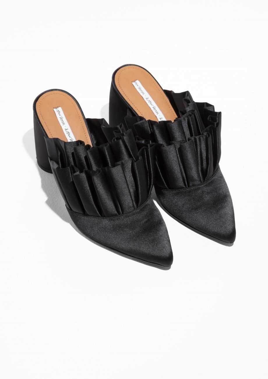 Other Stories image 2 of Satin Frill Mule Pumps in Black ... 184d34120