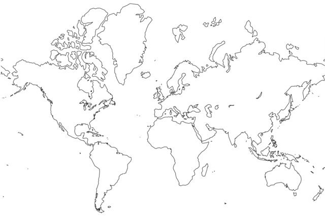 Black White World Map Printable World Map Outline World Map