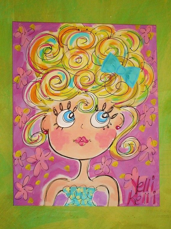 Girly Canvas Painting Ideas Part - 20: Blue Eyes Blue Bow Girly Painting Made To Order by YelliKelli, $50.00