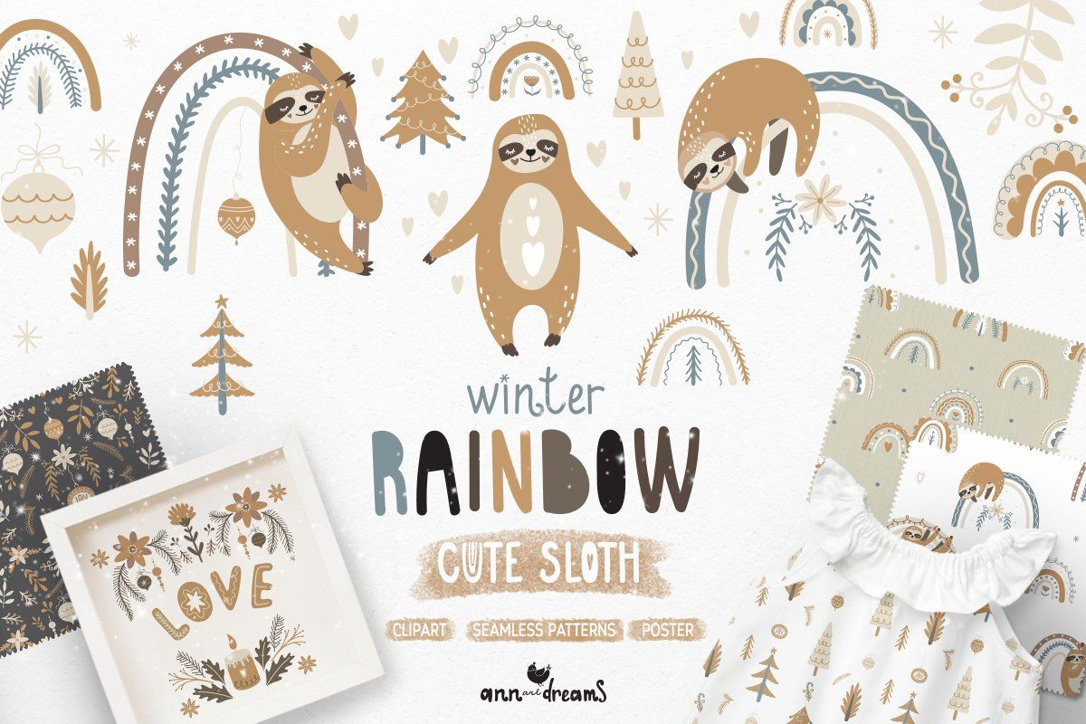 30 Sale Winter Rainbow Amp Cute Sloth In 2020 Rainbow