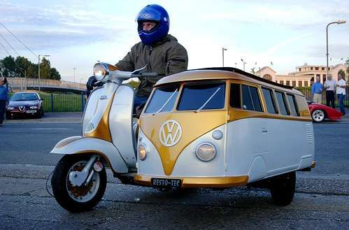 "[To own?] I'd most certainly like to have a vintage design scooter (Vespa's comes into mind) but this Lambretta scooter with a VW ""Kombi"" van sidecar is just so much win!"