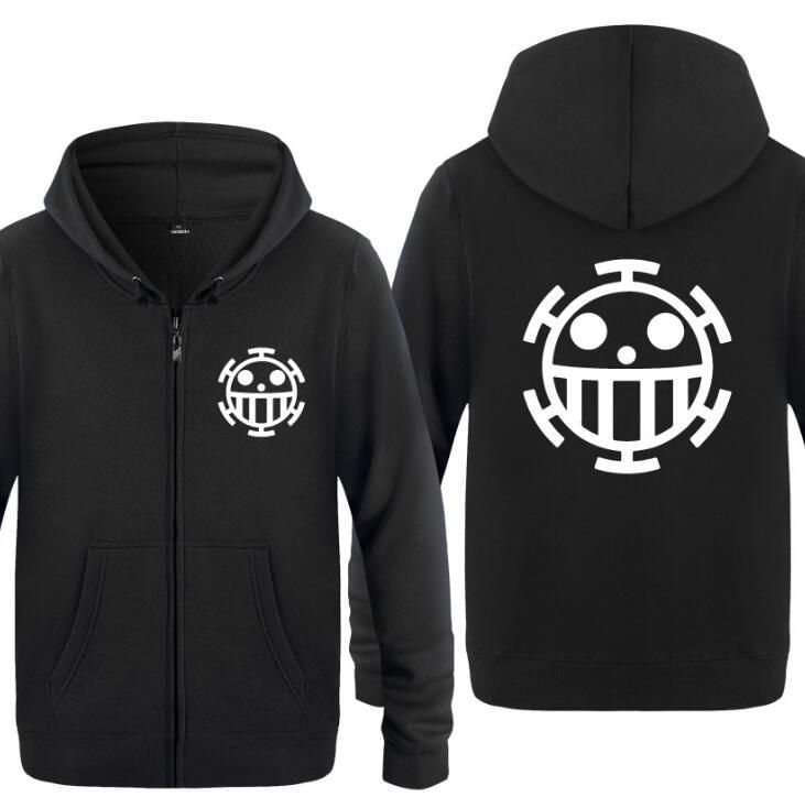 Hip-hop Anime One Piece Law Hoodies Cotton Short Sleeve Zip Sweatshirt Jacket