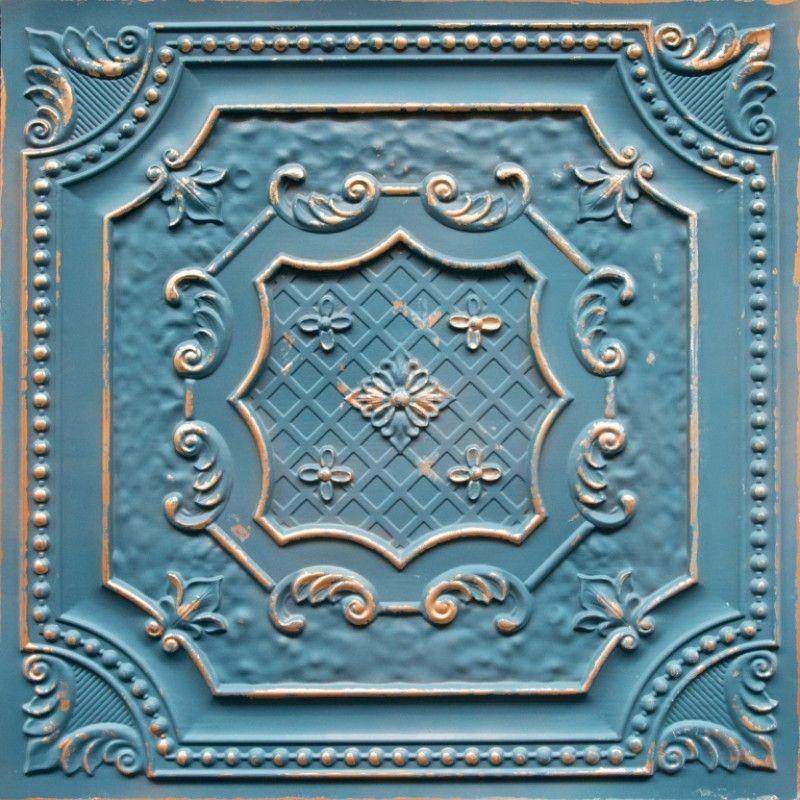 Elizabethan Shield Faux Tin Ceiling Tile 24 in x 24 in
