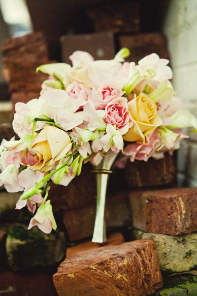love the silver handle for this bouquet