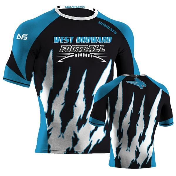 Bolt Style Custom Sublimated Black White Sky Blue Compression Shirt Bobcats Compression Shirt Shirts Shirt Designs