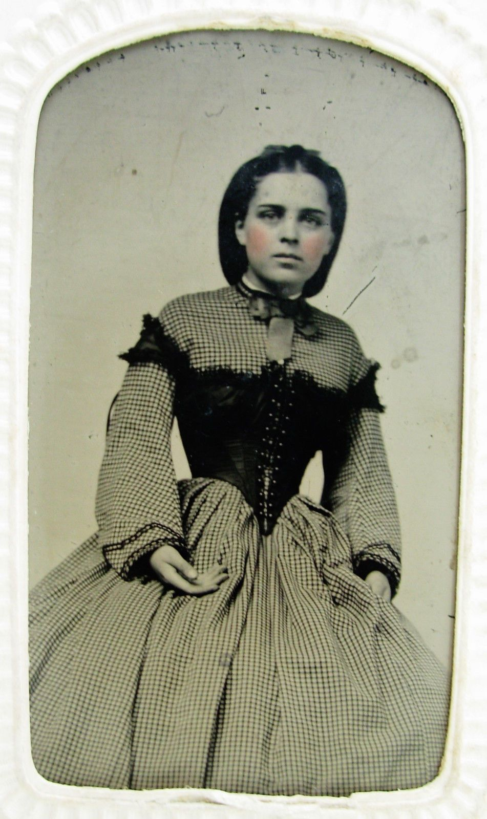 910f898a5f Antique Civil War Era Tintype Photo Young Beauty Checked Hoop Dress Corset  Top