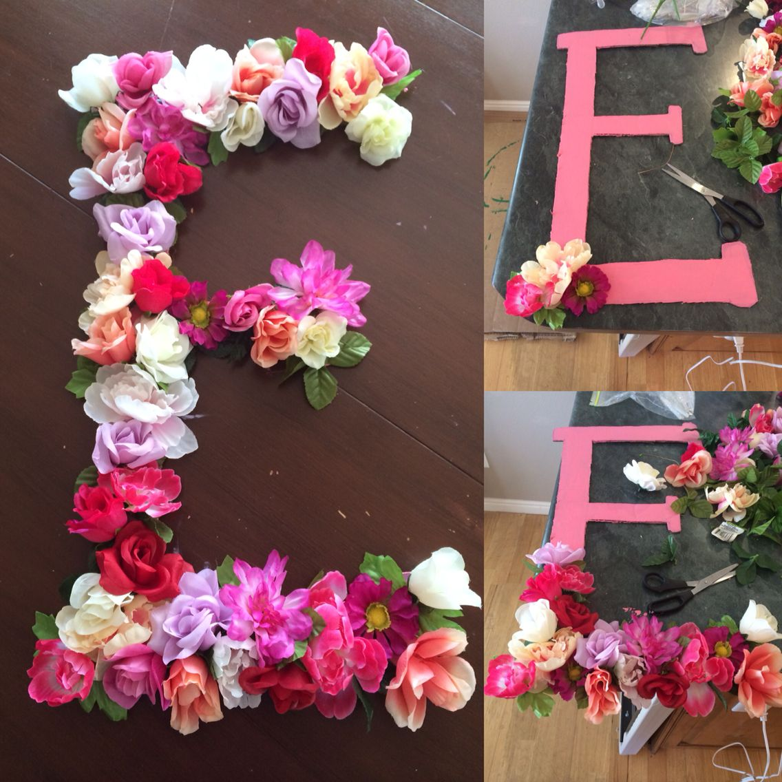 Floral Letters Cardboard Cut Out Letter Paint Hot Glue And Fake