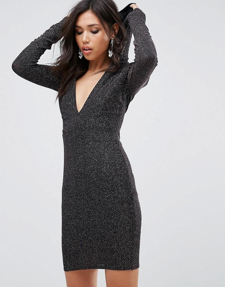 Asos club l club l glitter plunge front bodycon dress with hood