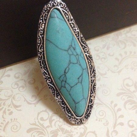 024e5d77fa7 Anel em prata turca envelhecida com pedra azul turquesa - AN59C2135 ...