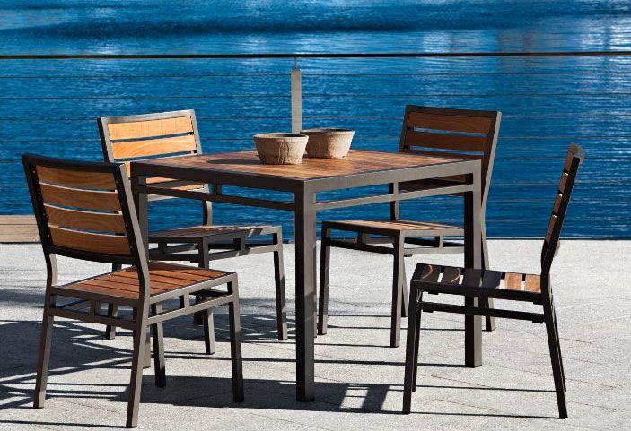 mesa de aluminio para exterior 90 x90 rio | Terraza y jardin ...