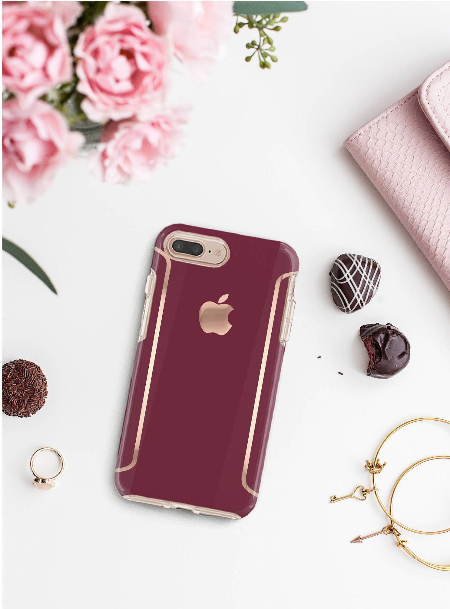 Burgundy Iphone Case And Rose Gold Otterbox Symmetry Iphone X