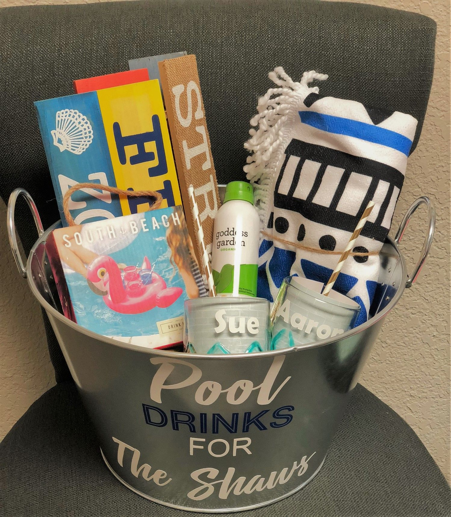 House warming gift idea. Pool theme. You are Family.  Pool gifts