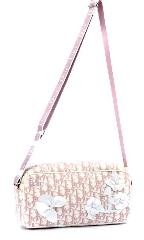 46648f2024f0 Vintage Christian Dior Girly Canvas   Leather Crossbody Bag