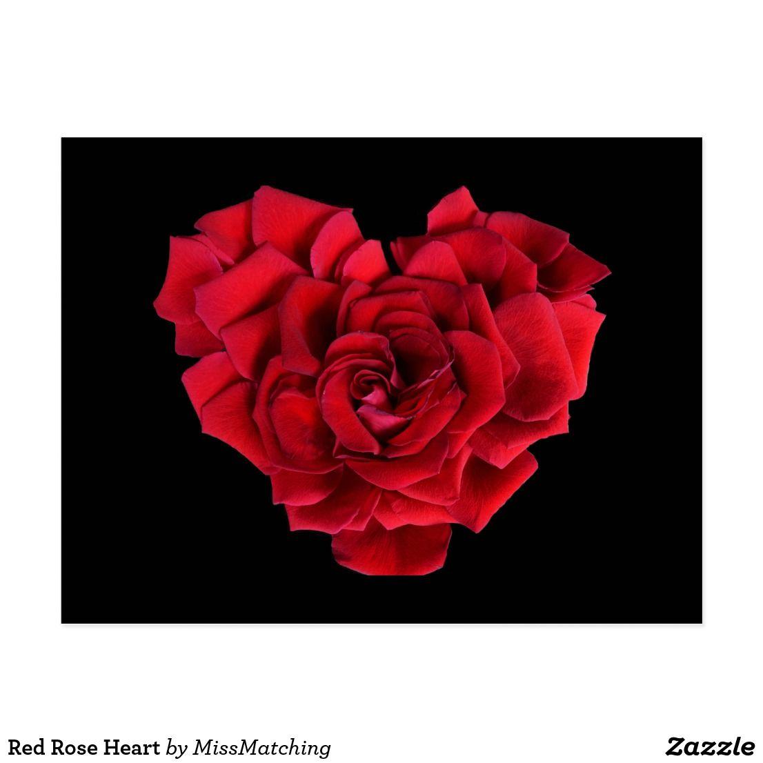Carte Postale Coeur de rose rouge   Zazzle.fr   Rose, Postale et Coeur