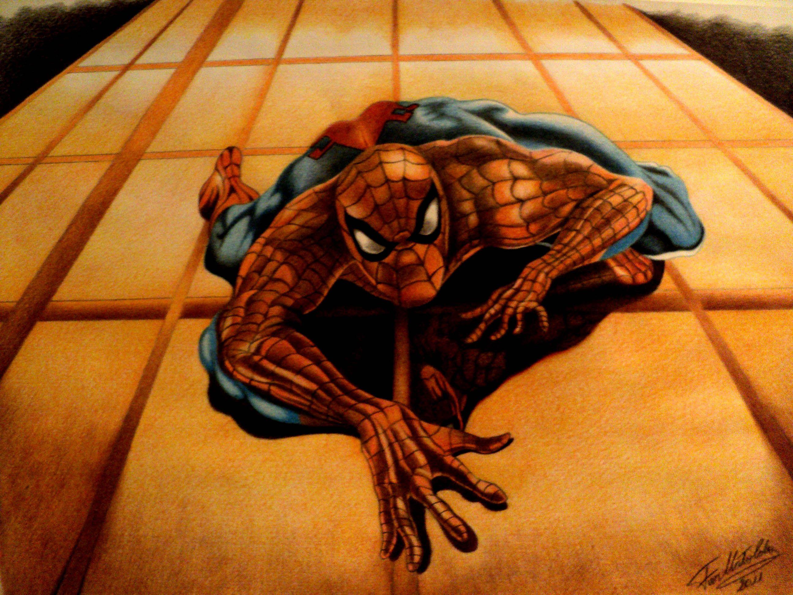 El Hombre Araña, Spiderman  Ilustración en lapices de colores