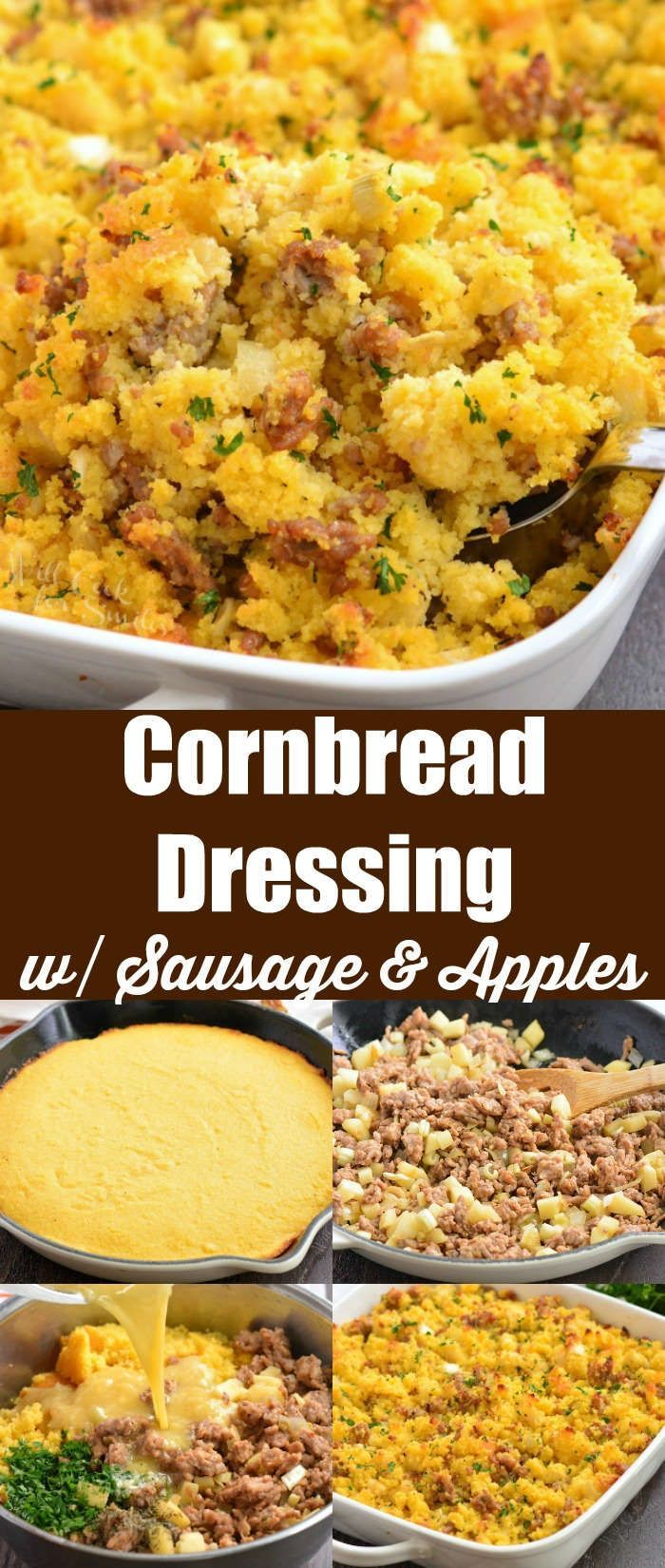 Cornbread Dressing with Sausage and Apples is a great side dish for your holiday dinner.