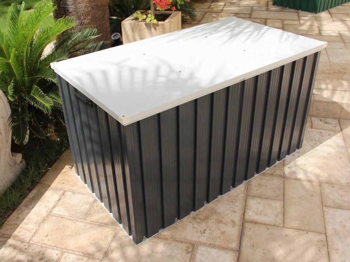 Duramax Grey Metal Cushion Storage Box 4x2 1 3sb Outdoor