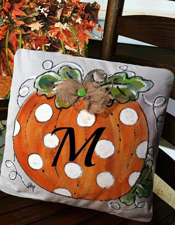 Pillow, Halloween Pillows, Thanksgiving Pillow, Personalized, Personalized Gifts, Orange Pillows, Polka Dots, Hand Painted, Cover Best SellerPillow Cover Polka-Dot Pumpkin by SippingIcedTeaBest SellerPillow Cover Polka-Dot Pumpkin by SippingIcedTea