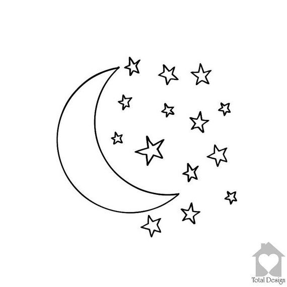 Moon And Stars Vinyl Wall Decal Vinyl Wall Decor Vinyl Decal