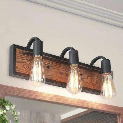 Photo of LNC 3-Light Black Rustic Vanity Light A03440 – The Home Depot
