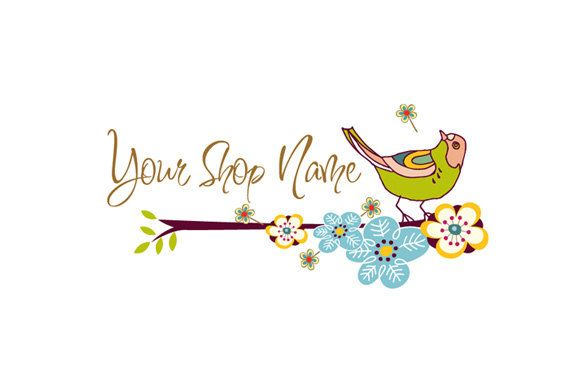 Premade Logo design for your business logo boutique logo - Little bird with flowers  logo design - no150
