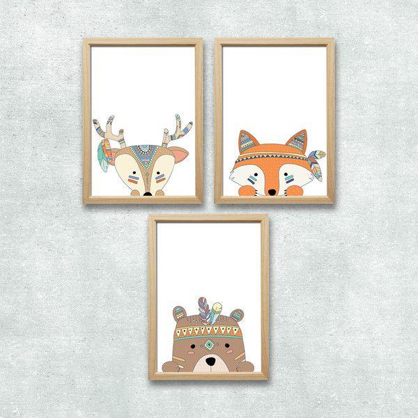 Bilder wald tiere set kunstdruck a4 kinderzimmer deko - Babyzimmer deko set ...