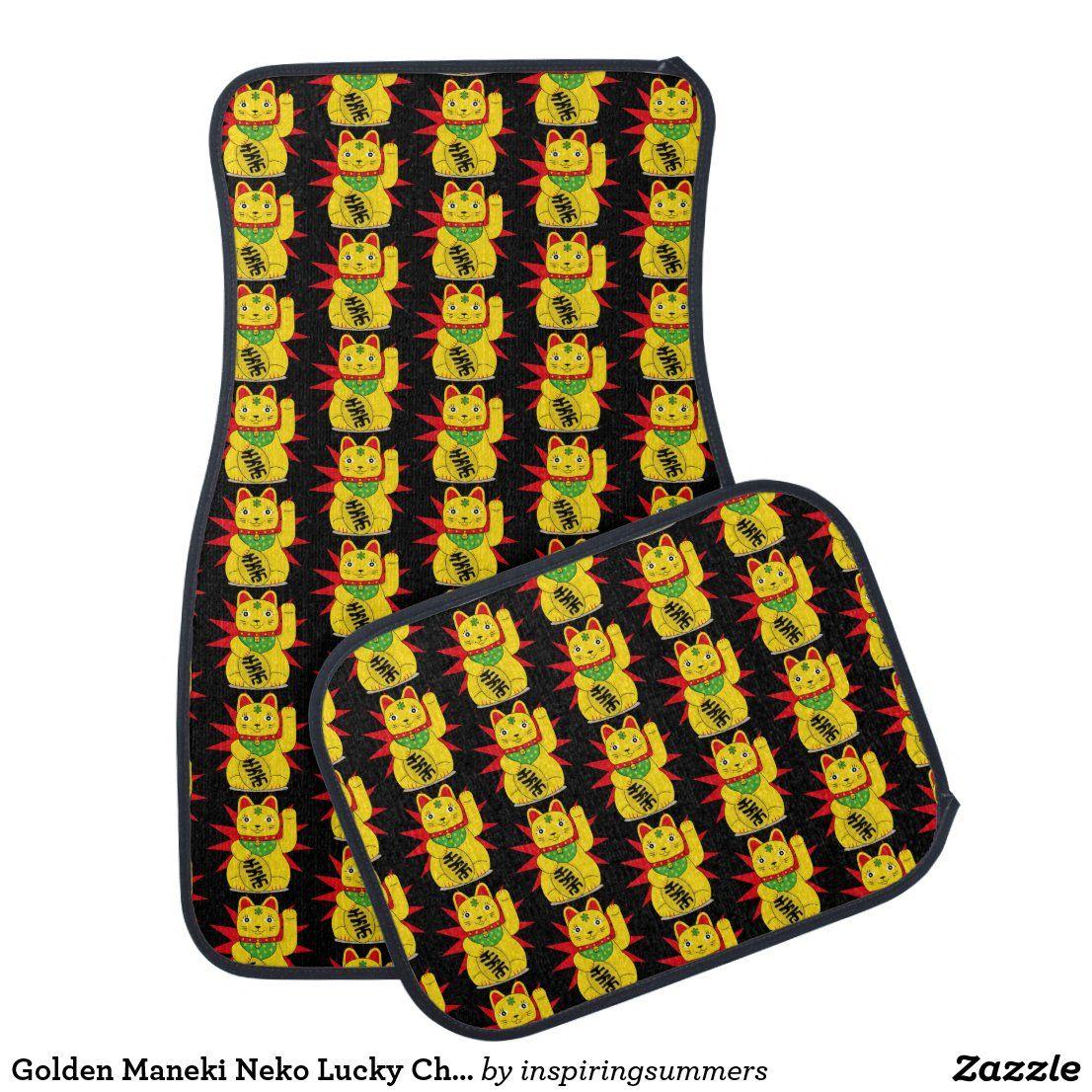 Golden Maneki Neko Lucky Chinese Waving Cat Car Floor Mat