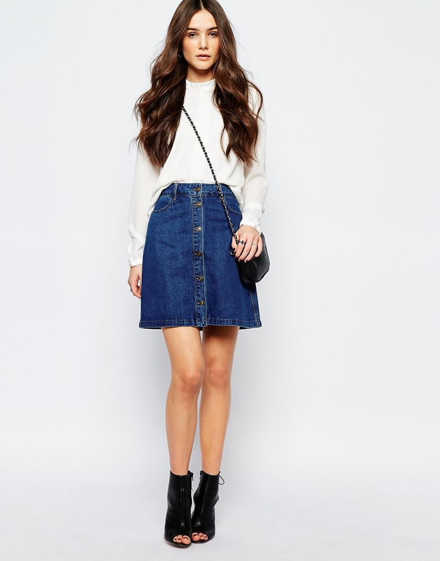 Image 1 of Only Button Front Denim A Line Skirt | Mode | Pinterest ...