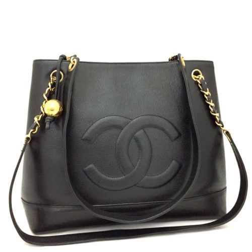 b339a6b3740c CHANEL CC Logo Caviar Skin Chain Shoulder Tote Bag Black  o583 ...