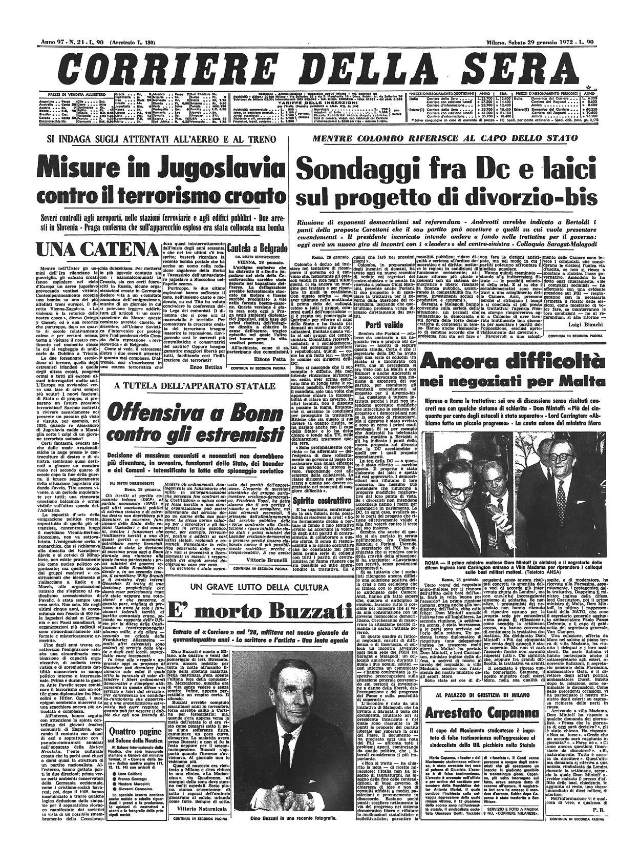 Corriere della Sera, 29 gennaio 1972. Eventi, 29 gennaio