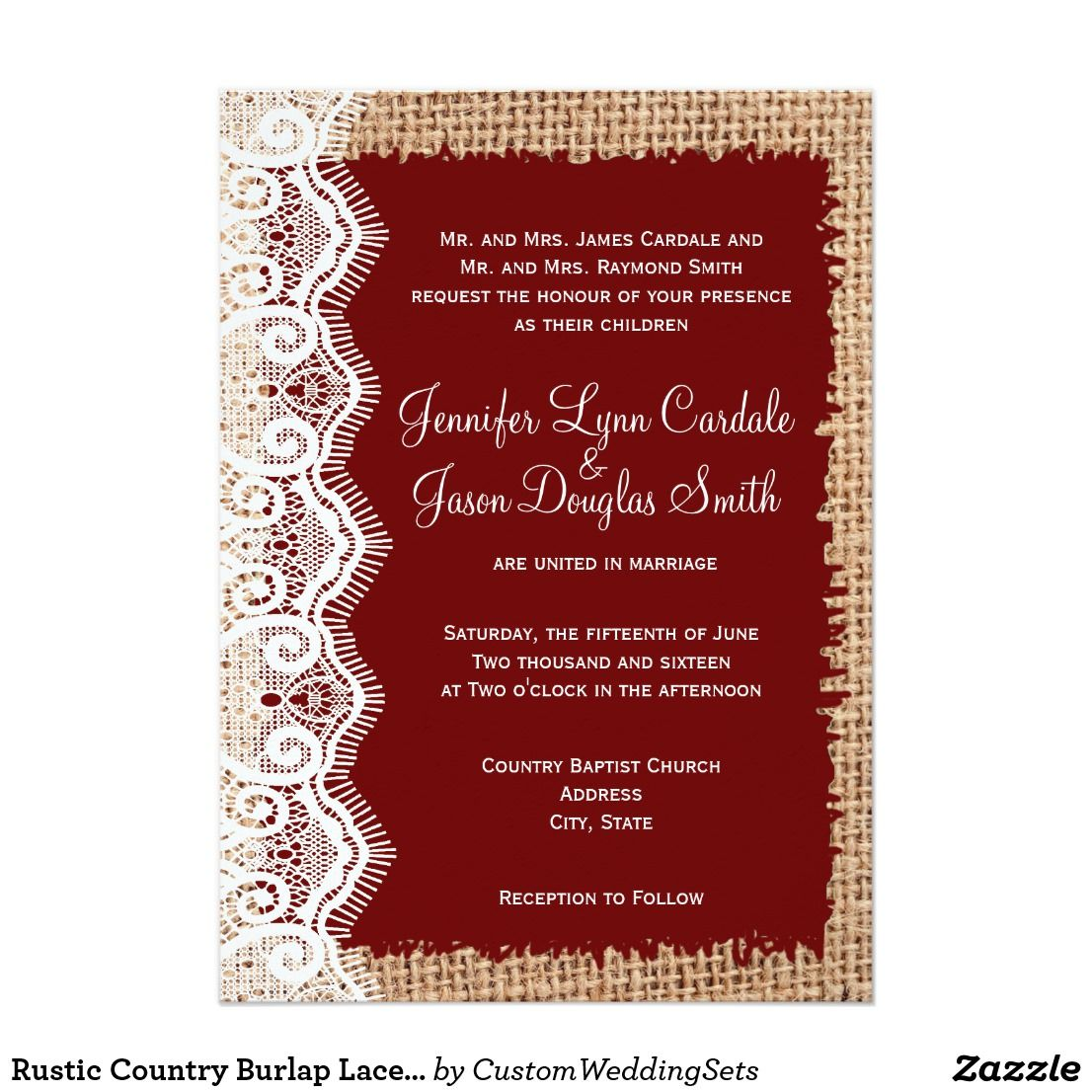 Rustic Country Burlap Lace Red Wedding Invitations | Country Wedding ...