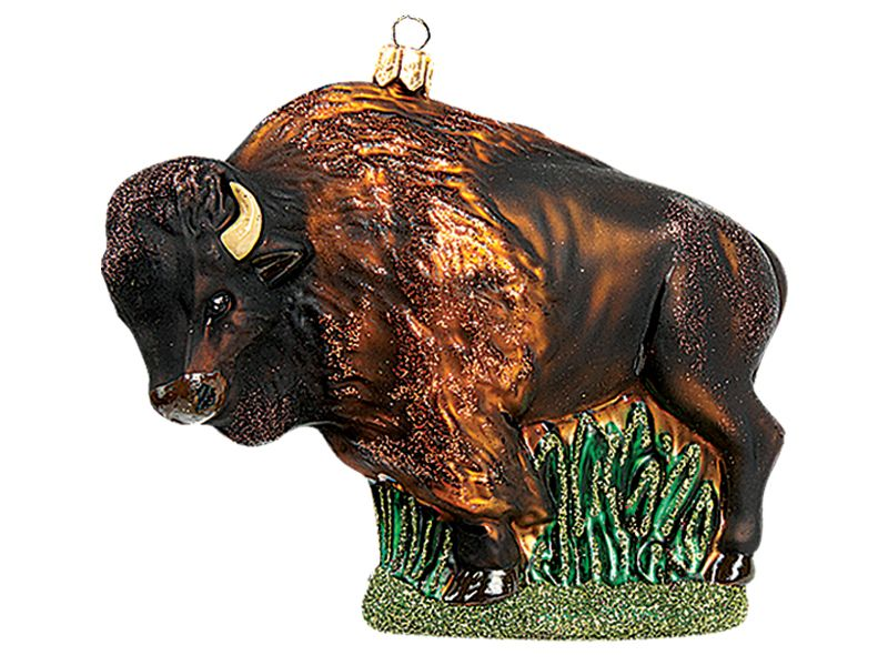 american bison buffalo polish mouth blown glass christmas ornament - Buffalo Christmas Decorations
