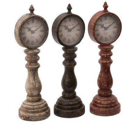 Home In 2019 Tabletop Clocks Wood Metal Table Vintage Table