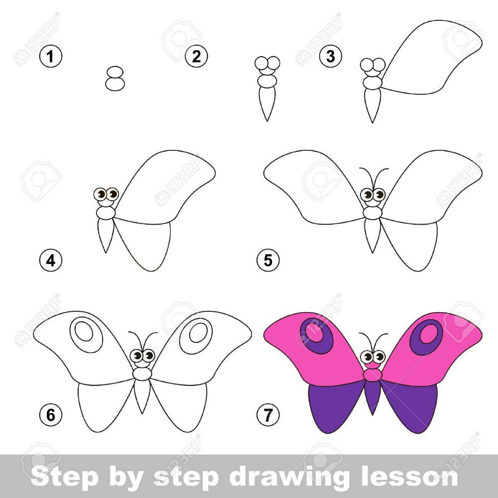Paso A Paso Tutorial De Dibujo Vector De Juego De Ninos Como Dibujar Una Mariposa Tutorial De Dibujo Clases De Dibujo Para Ninos Dibujo Paso A Paso