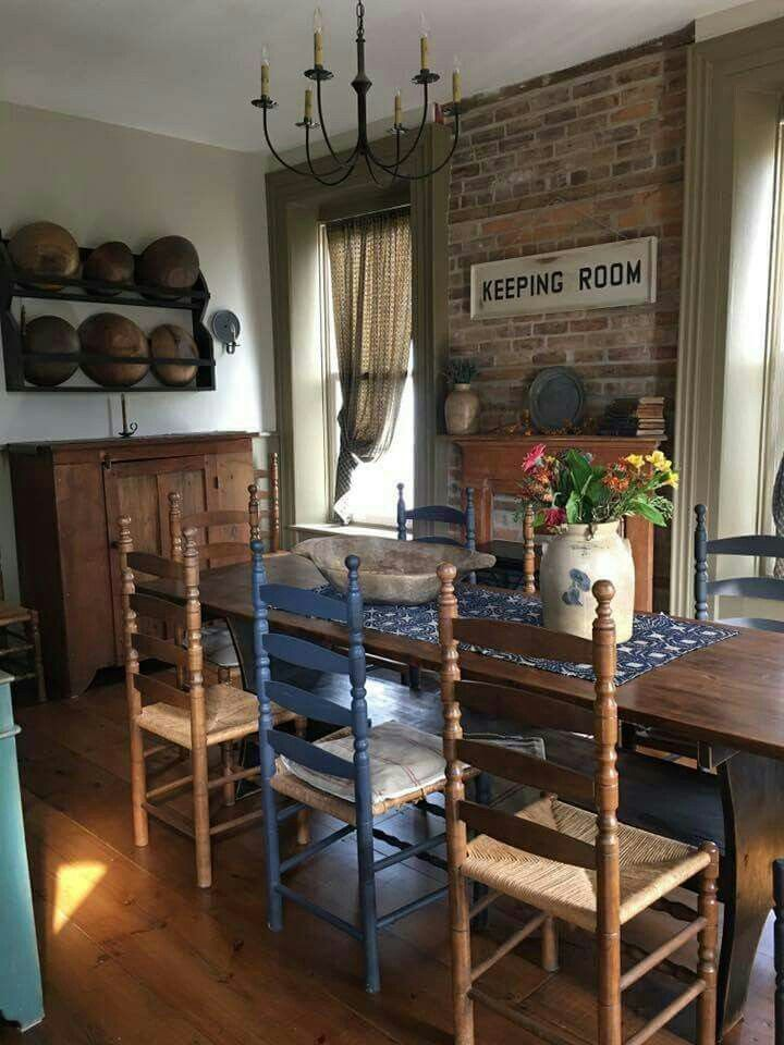 Ladder Back Chairs  Apartment Living  Pinterest  Primitives Adorable Primitive Dining Room Sets Review