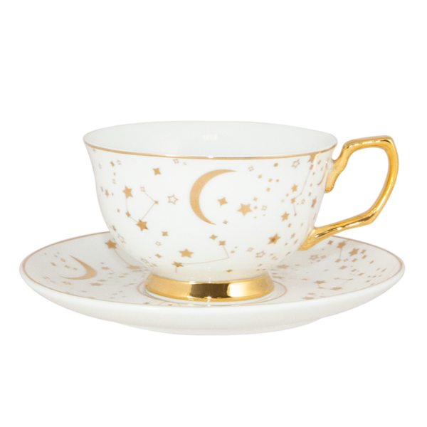 Teacup It S Written In The Stars Ivory Gold Tea Cups Tea Cup Saucer Tea Sets Vintage