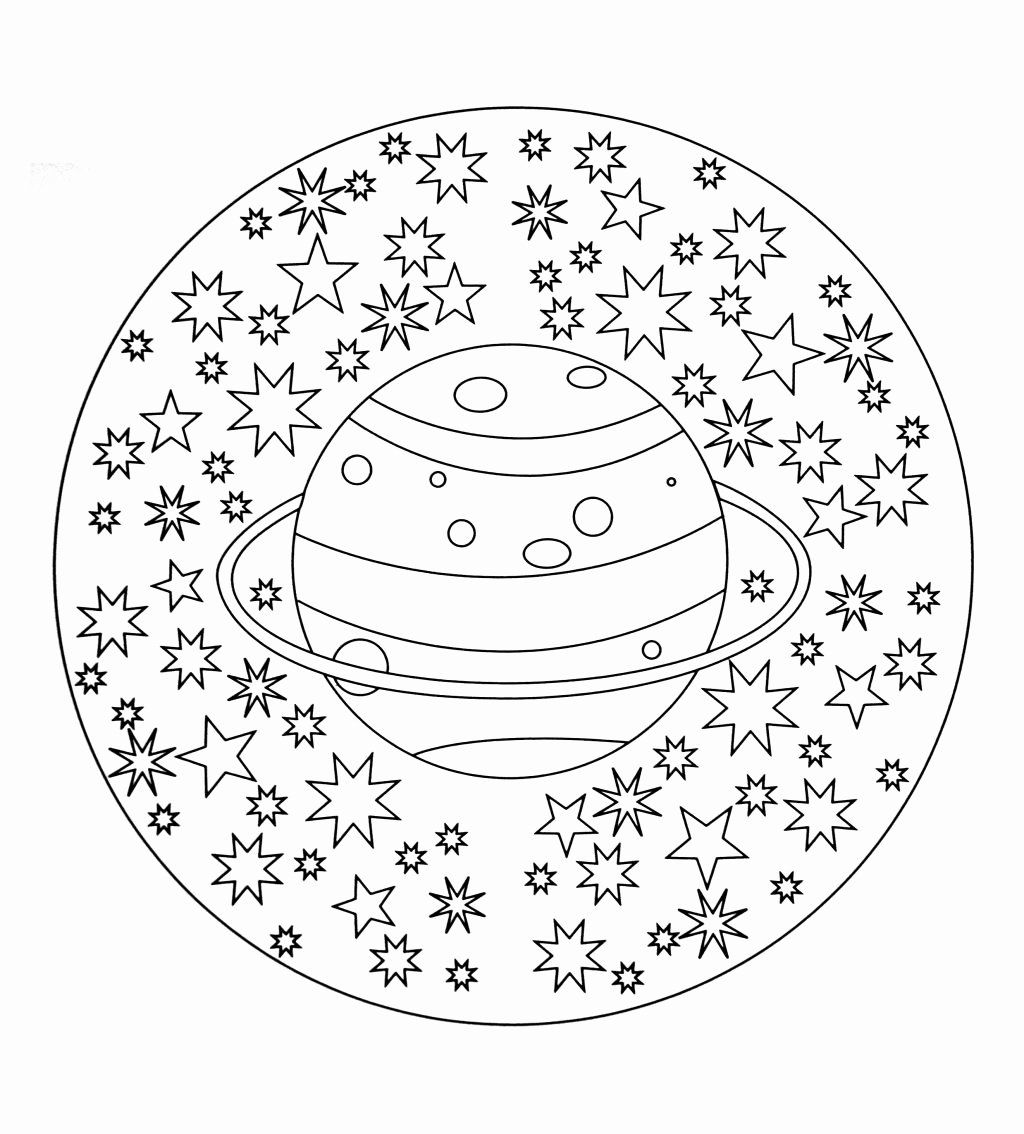 Space Coloring Sheets For Adults Mandalas For Kids Mandala