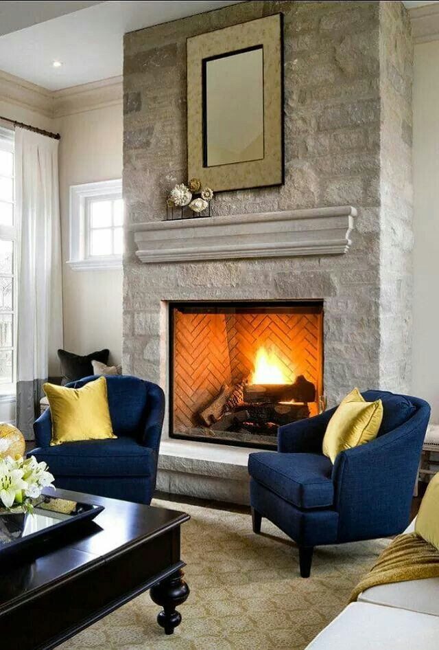 Royal Blue And Gold Family Room Design Fireplace Design