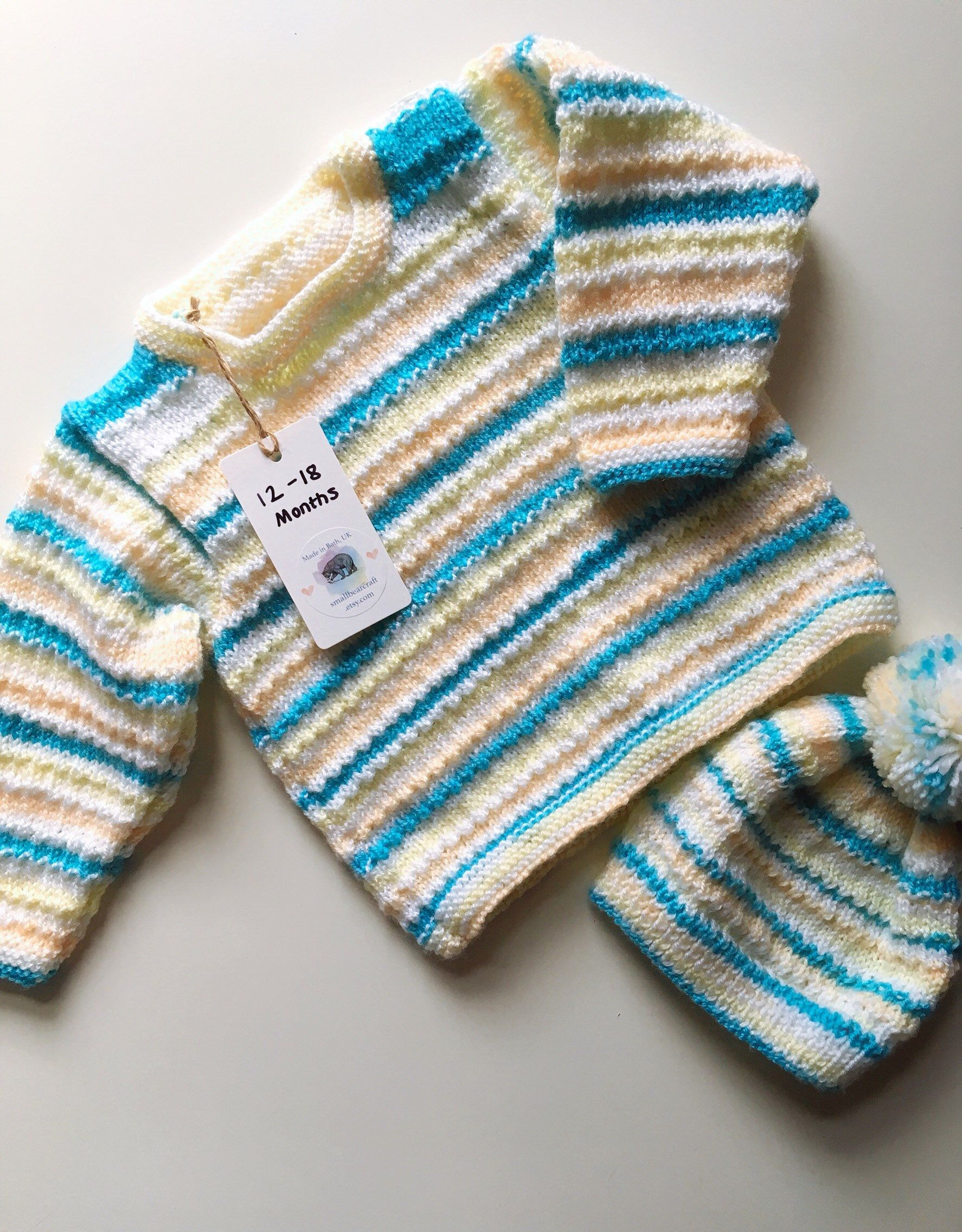 Lavendar Aqua and Blue Sweater Babies Hand knit jumper Age 6 to 12 monthes.