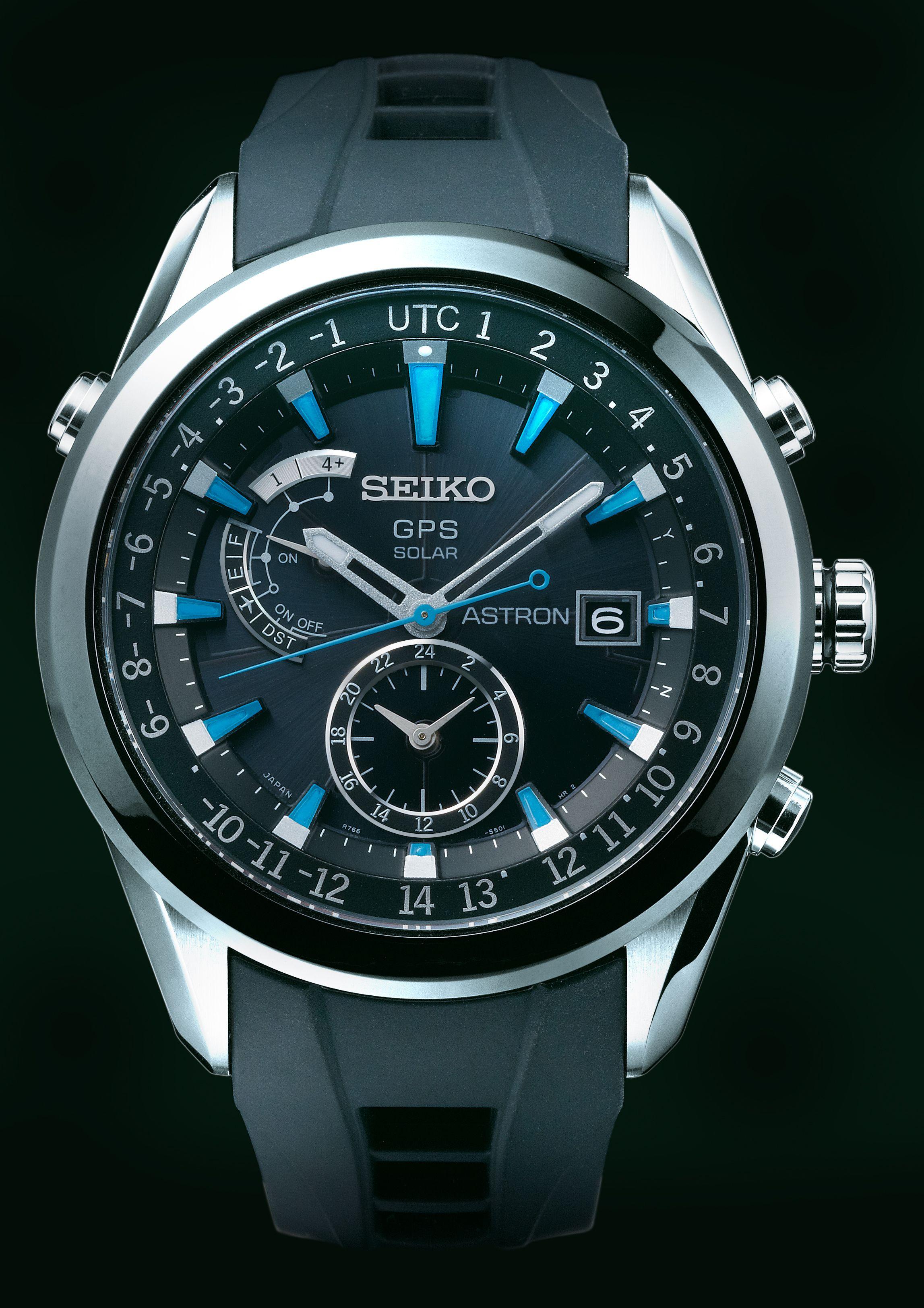 Seiko Astron, GPS Solar Watch, With silicon strap and blue accents, SAST009   www.SeikoUSA.com