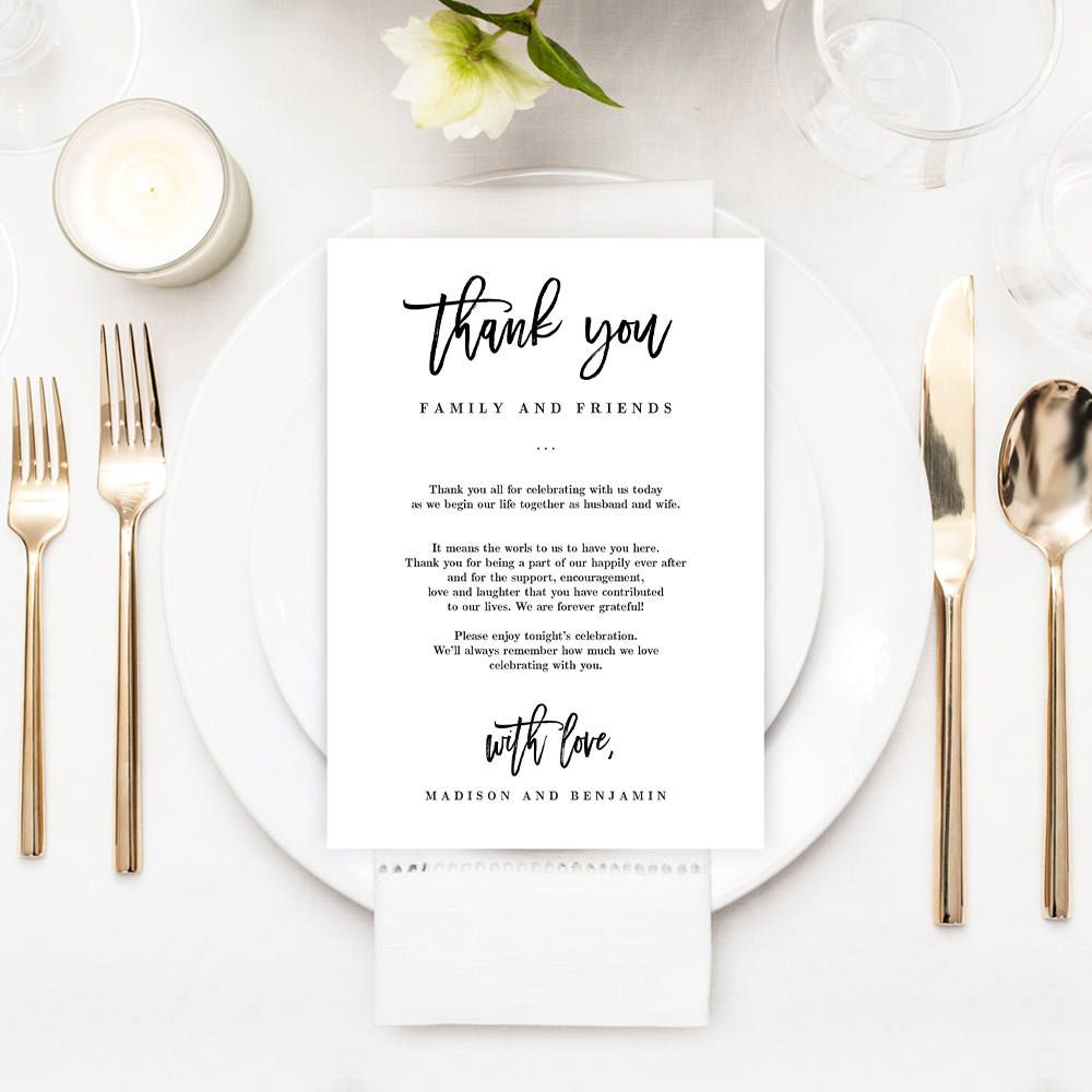 Thank You Letter For Wedding Invitation: Printable Wedding Thank You Letter Welcome Cards Editable