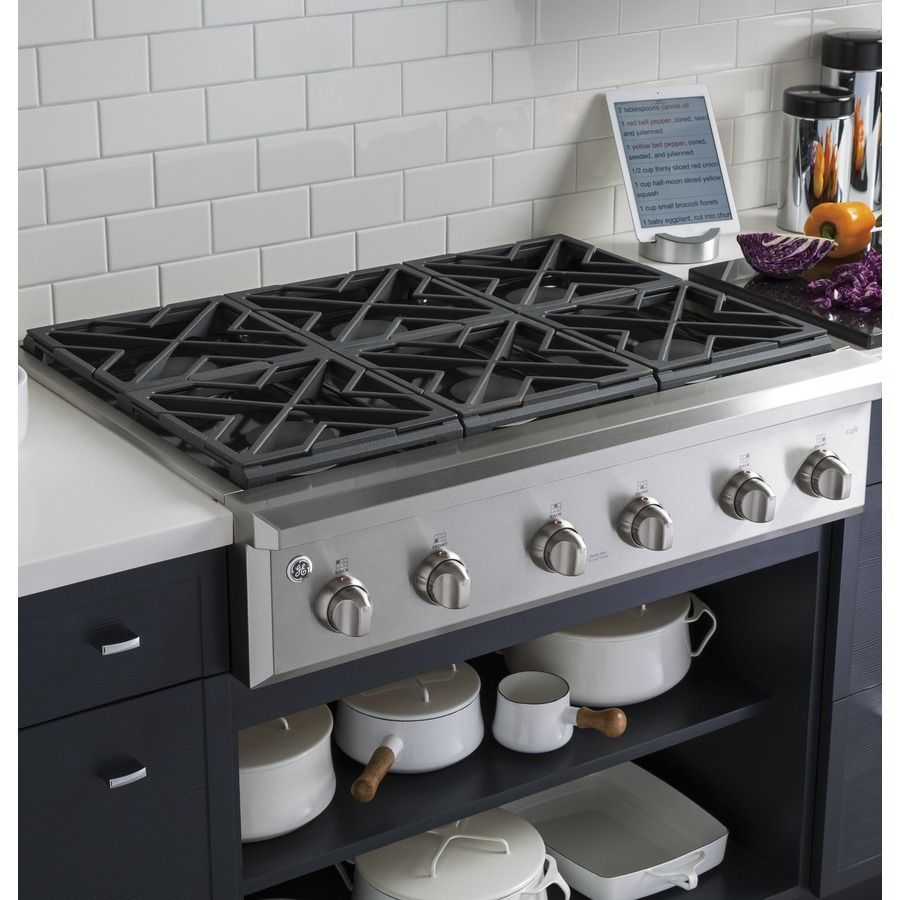 Ge Cafe Series 6 Burner Gas Cooktop Stainless Common 36 In Actual 35 875 At Lowes