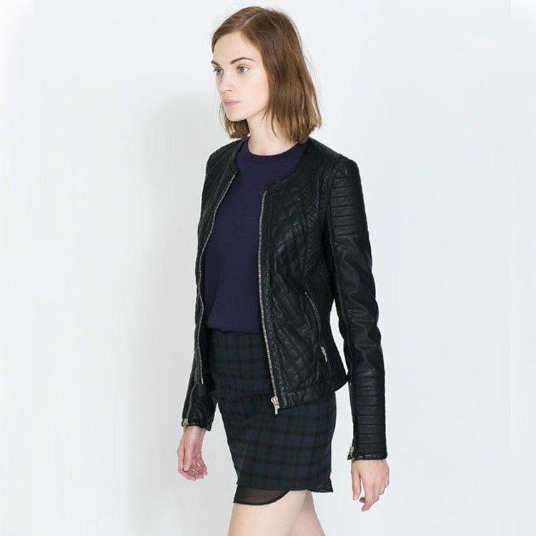 Zara Trafaluc Black Quilted Faux Leather Motorcycle Jacket My Favourite Jacket Leather Jackets Women Black Leather Moto Jacket Jackets
